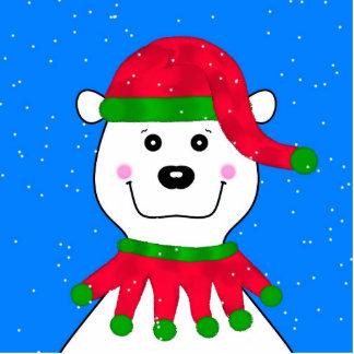 Holiday Polar Bear Photo Sculpture Key Ring