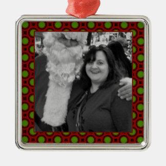 Holiday polka dots square photo frame christmas ornament