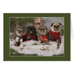 Holiday Pug Skating Party Greeting Cards