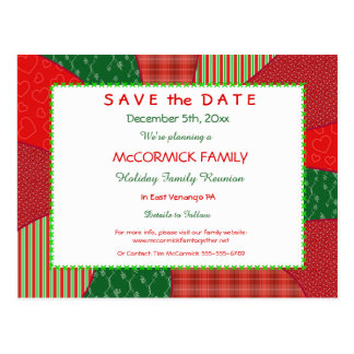 Holiday Quilt-Party, Family Reunion Save the Date Postcard