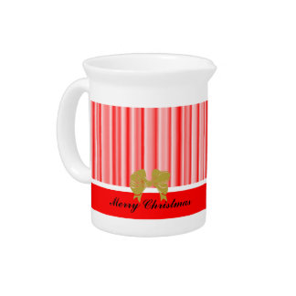 Holiday Red and White Stripes Beverage Pitchers