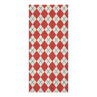 Holiday Red Green Linen Argyle Pattern Personalized Rack Card