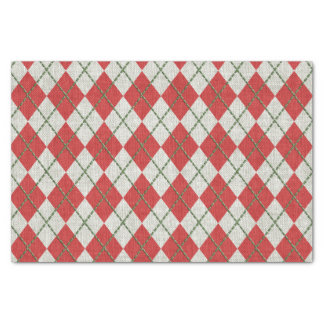 Holiday Red Green Linen Argyle Pattern Tissue Paper