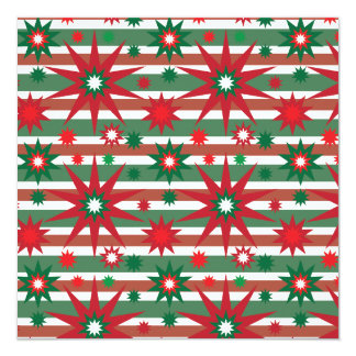 Holiday Red Green Stars Snowflakes Striped Pattern 13 Cm X 13 Cm Square Invitation Card