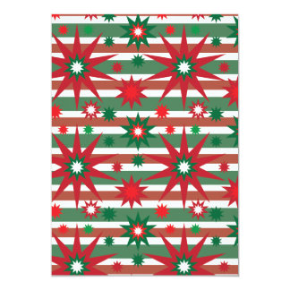 Holiday Red Green Stars Snowflakes Striped Pattern 13 Cm X 18 Cm Invitation Card