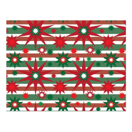 Holiday Red Green Stars Snowflakes Striped Pattern Post Cards