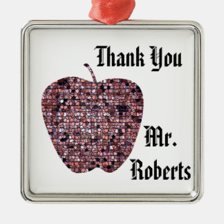 Holiday Red Mosaic Apple Thank You with Name Christmas Ornament
