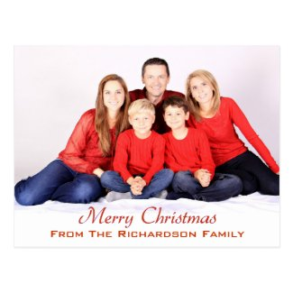Holiday Red Personalized Photo Merry Christmas Postcard