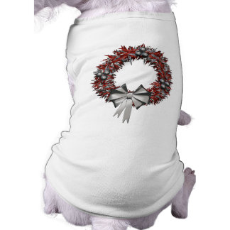 Holiday Red & Silver Wreath Pet Shirt