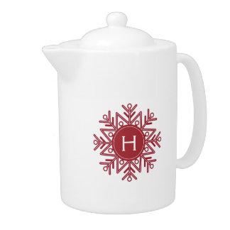 Holiday Red Snowflake Monogram
