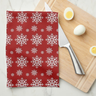 Holiday Red Snowflakes Tea Towel