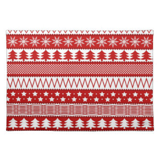 Holiday Red Stripes Pattern Placemat