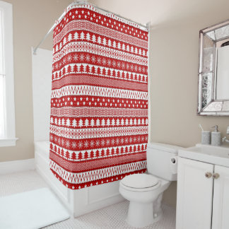 Holiday Red Stripes Pattern Shower Curtain