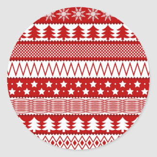 Holiday Red Stripes Pattern Round Stickers
