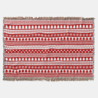 Holiday Red Stripes Pattern Throw Blanket