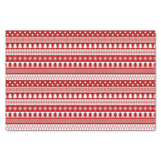 Holiday Red Stripes Pattern Tissue Paper