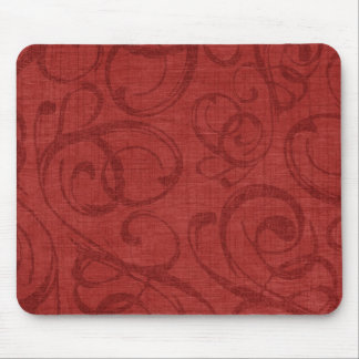 Holiday Red Swirl Pattern Mouse Pad