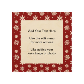 Holiday Red White Snowflakes Pattern 1 Wood Canvases