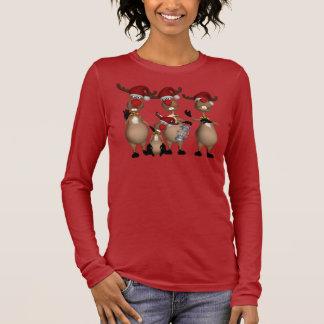 Holiday Reindeer Christmas Jumper Singing Reindeer Long Sleeve T-Shirt