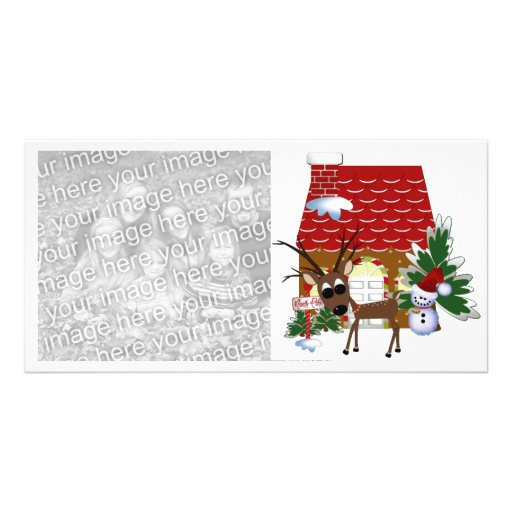 Holiday Reindeer Christmas Photocard Personalised Photo Card