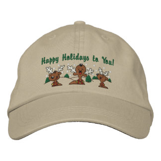 Holiday Reindeer Greetings Embroidered Baseball Caps