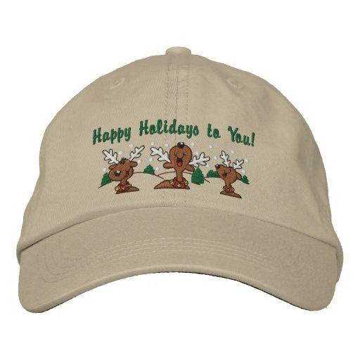 Holiday Reindeer Greetings Baseball Cap