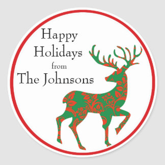 Holiday Reindeer Personalized Classic Round Sticker