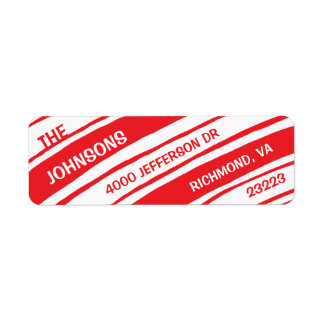 Holiday Return Address Labels: Candy Cane