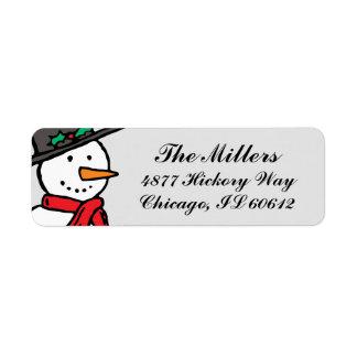 Holiday Return Address Labels: Snowman Gray