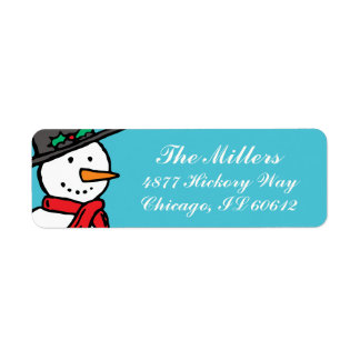 Holiday Return Address Labels: Snowman Turquoise
