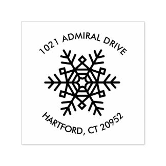 Holiday Return Address Stamps with Snowflake