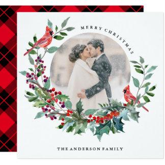 Holiday Robin Wreath Photo Card