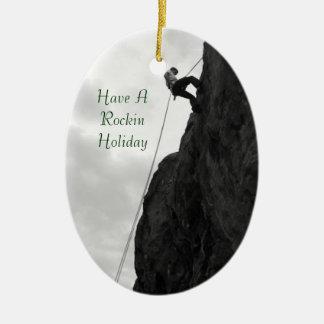 Holiday Rock Climbing Rockin Christmas Ornament