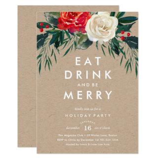 Holiday Rose Holiday Party Invitation