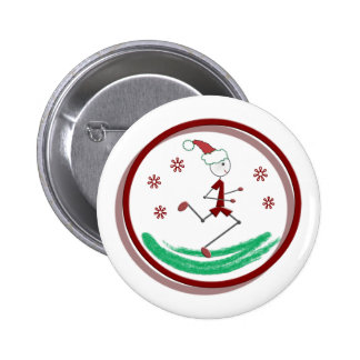 Holiday Runner Guy Pinback Button