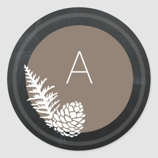 Holiday Rustic Pine and Chalkboard Monogram Classic Round