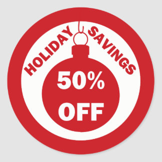 Holiday Savings 50% OFF Classic Round Sticker