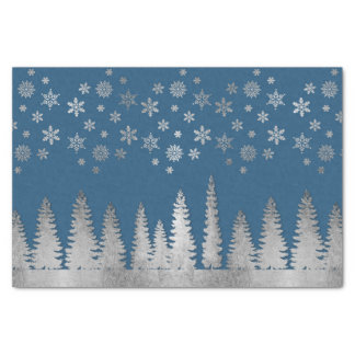 Holiday Silver and Blue Winter Wonderland Tissue Paper