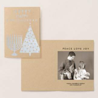 Holiday Silver Chrismukkah Merry Add Your Photo Foil Card