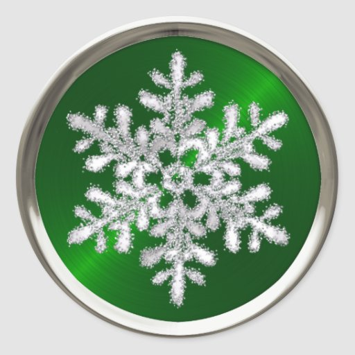 Holiday Silver Crystal Snowflake Green Seal Round Sticker