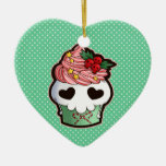 Holiday Skull Cupcake Ceramic Heart Decoration
