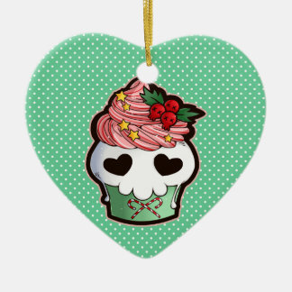 Holiday Skull Cupcake Christmas Ornament