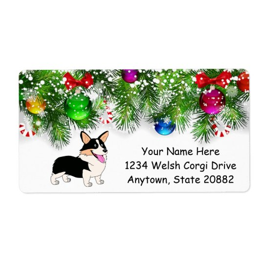 Holiday Smiling Tricolor Corgi Shipping Label