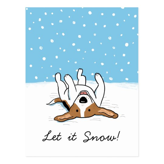 Holiday Snow Beagle with Customisable Text Postcard