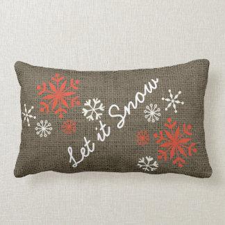 Holiday Snowflake Let It Snow Rustic Burlap Lumbar Cushion