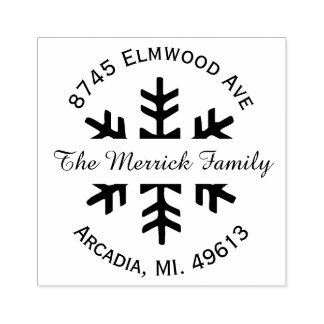 Holiday Snowflake Return Address Rubber Stamp