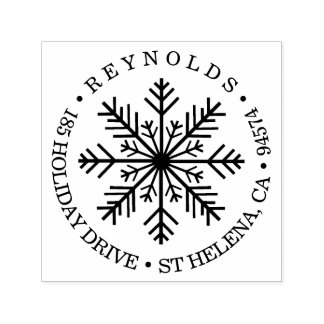 Holiday Snowflake Round Return Address Self-inking Stamp