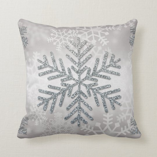 Holiday Snowflake with Silver Glitter Cushion