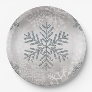 Holiday Snowflake with Silver Glitter Paper Plate