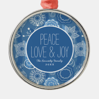 Holiday Snowflakes and Stars Background Christmas Ornament